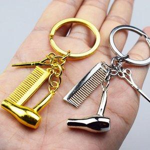 Neue Persönlichkeit Haartrockner Kämme Schere Anhänger Keychain Friseurwerkzeuge Schlüsselanhänger Haar Stylist Schlüsselanhänger Salon Kreative Geschenk