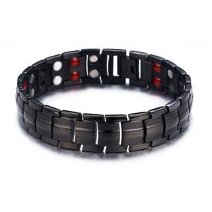 Mens Elegant Titan Magnetic Therapy Armband Schmerzlinderung für Arthritis und Karpaltunnel mit Double Row 4 Element Black Bracelet