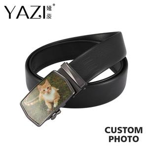 Yazi Bilder Gürtel Kuh-Leder-Männer Hüftgürtel Marke Automatische Buckle Schwarz-echtes Leder Erwachsene Gürtel Geschenk für Mann