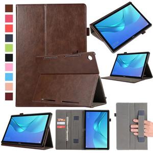 30pcs Flip Book PU Funda de piel para Huawei Mediapad M5 10.8 pulgadas CMR-AL09 CMR-W09 Tablet Funda de agarre para tarjeta Hand Slots