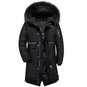 Duck Down Coat Mens Chaqueta de invierno Larga y delgada Chaqueta coreana Snow Down Parka Cuello de piel real Ropa masculina 2018 Tallas grandes S-5XL