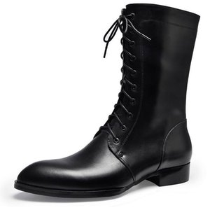 Autumn winter mens pointed toe lace up genuine leather boots fashion zip inside plush warm men work boots cowboy military boots