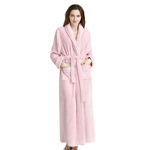 Peignoir pour hommes et femmes, peignoir super doux en flanelle avec une serviette éponge pour adulte, robe de nuit pour vêtements de nuit, avec 2 grandes poches