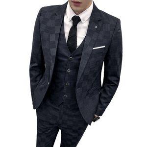 Traje de cuadros a cuadros para hombres 3 piezas traje Homme Mariage azul 3 colores Smoking Masculino traje delgado trajes de vestir de los hombres de negocios