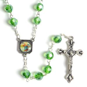 Moda Yuvarlak Faceted Yeşil Kristal Boncuk İsa ve St Christopher Tespih Kolye