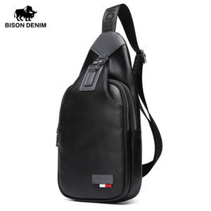 BISON DENIM Véritable Sacs de Crossbody en cuir pour homme Casual Messenger Bag Small Design Homme Sac à bandoulière poitrine Sac de taille N2492