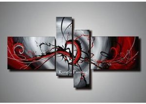 100% Hand Painted Black White Red Canvas Art Group Oil Painting 4 Panels Wall Art High Quality coml409