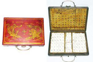Jeu de Mahjong Mah-jong de 144 pièces +2 dés + boîte de dragon en bois en cuir rouge