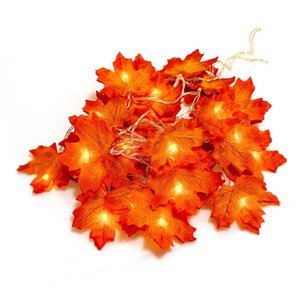 Autumn Fall Maple Leaves Light String Garland Battery Powered Warm white Perfect Decoration for New Year Thanksgiving Christmas Party DIY
