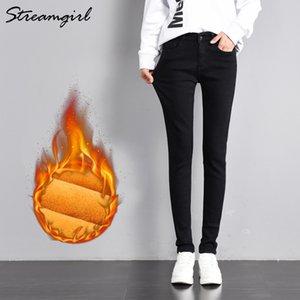 Streamgirl Vita alta Jeans invernali Donna Warm Thick Donna Pantaloni in denim di velluto Mom Jeans Donna Inverno Jean Femme Skinny Jean Warm