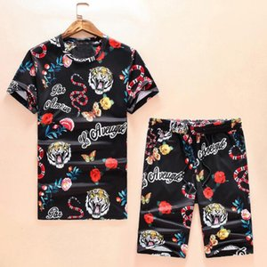 Noir O Collar Manches Courtes Hommes T-shirts Et Loisirs Shorts Snake Tiger conjunto masculino esportivo deux pièces ensemble