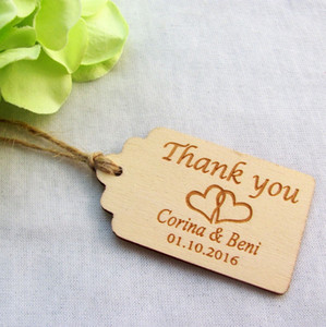 65/200 unids Grabado personalizado Gracias Etiquetas de boda Etiquetas de madera Favor de la boda Rústico despedida de soltera Favor