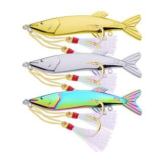 Fishing Spoons Metal Lure 80g 12.2 cm VIB Esche artificiali per pesce persico con ami piuma argento dorato 3 colori