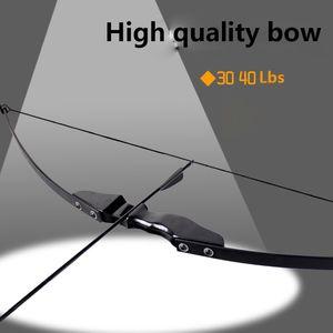 Arco de tiro con arco de 40 libras Potente arco recurvado para la mano derecha Tiro de caza al aire libre Arco largo tradicional con objetivo