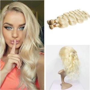 Blonde Menschenhaar spinnt mit 360 Full Lace Band Frontal brasilianische # 613 Platinum Blonde Körperwelle 3Bundles mit 360 Spitze Frontal Closure