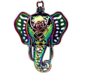 Arco-íris Cor Gotas de Elefante Indiano Gaiola Fazer Jóias Essencial Oil Diffuser Gaiola de Pérola Medalhão Sorte Pingente A56