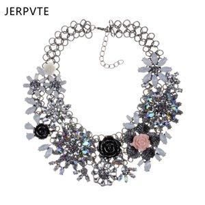 Collana JERPVTE nuove donne moda gioielli strass fiore collare collana robusta pesante collana 2018 all'ingrosso
