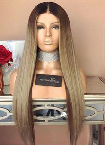 Meilleur Cheveux Humains Brésiliens Base Soie Cheveux Raides Ombre Brun 1b18 Couleur Sans Colle Full Lace Wigs Soie Top Lace Front Perruques