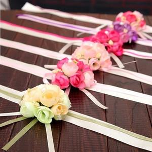 Moda Yapay Çiçekler Düğün Kutlama Gelin Bilek Çiçek Simülasyon Inci Dantel Korsaj Nedime Süslemeleri Sıcak Satış