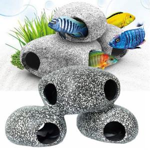 돌 은신처, 수족관 장식 바위 은신처, 물고기 탱크 또는 소형 그릇을위한 작은 장식, 거북이 Terrarium, Betta 물고기 부속품을 위해 최상