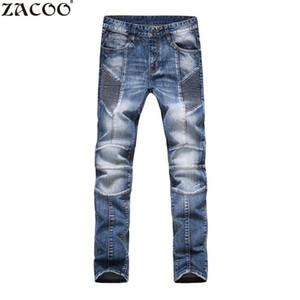 ZACOO Jeans de hombre de negocios Casual fino verano recto Slim Fit Blue Jeans Stretch Denim Pants Classic Cowboys Young