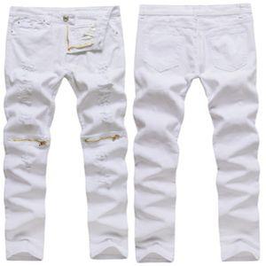 Moda casual da uomo con cerniera lampo Foro alto sottile elastico da uomo 2018 Fashion Casual stile Solid White maschio pantaloni skinny