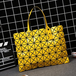 Wholesale-Laser BaoBao Women Dazzle Color Plaid Tote Casual Bags Female Fashion Fold Over Handbags Lady Sequins Mirror Saser Bag Bao Bao