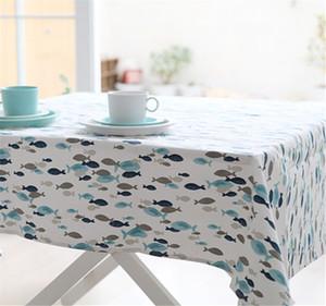 4 tamanho estilo Mediterrâneo estilo azul estilo de peixe de algodão em casa espessamento toalha de mesa mesa de jantar decoração da festa em casa