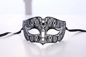 Homens de Metal Máscara Do Partido Dos Homens Smoking Preto Venetian Filigrana Masquerade Máscara Bola Mascarada adereços de desempenho de Palco de Halloween Natal