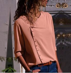 Mode élégante Irrégulière Chemises Femmes Printemps Automne Nouvelles Boutons Chauds Conception Refermer Col Blouses Tops Tee