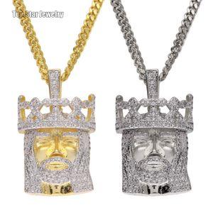 Mais novo Estilo de Qualidade Superior de Cobre Micro-insere Cubic Zirconia Crown King Pingente de Colar de Corrente Cubano Para Homens Hip Hop Rapper Acessórios