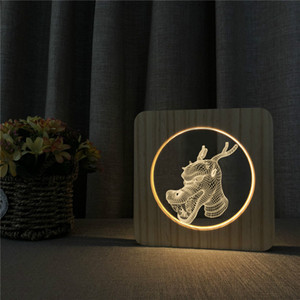 مصباح 3D التنين رئيس نحت الخشب نمط الصمام الخفيفة USB السلطة الليل خشبي، الجدول الصمام نوم مكتب الديكور المنزلي مصباح