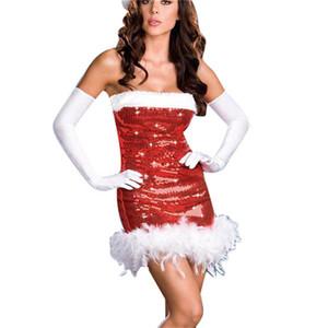 Красный off-shoulder Santa Fancy Dress Sexy Sequin рукавов Рождественская вечеринка косплей костюм ночной клуб платья
