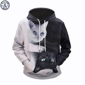 Mr.BaoLong dropshipping all'ingrosso Plus size M-3XL felpe con cappuccio da uomo Bianco e nero gatto felpe stampate 3D uomo ZH21