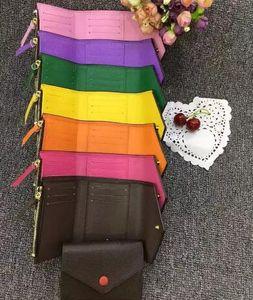 Klasik kadın çanta yüksek kaliteli deri baskılı kadınlar kısa cüzdan şeker renk çanta 41938 fermuarlı cebi Victorine