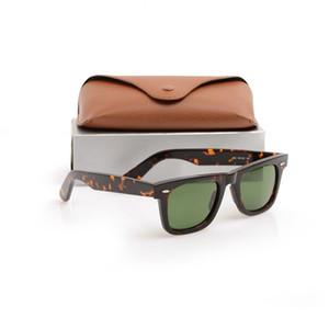 Occhiali da sole per plancia di alta qualità 2140 Lente di vetro Montatura tartaruga Lente verde Cerniera in metallo Occhiali da sole ray Occhiali da sole da donna da uomo 2140 Occhiali da sole