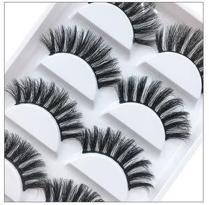 Mink lashes handmade reusable false eyelashes makeup 5 pairs each set soft real mink fur hair natural long DHL Free
