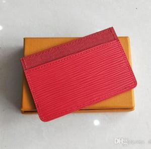 Nuevo diseño clásico de moda Crédito rojo negro Tarjeta de identificación titular de cuero de alta calidad para hombres mujeres bolsos ultra delgado paquete de cartera