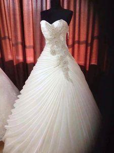 Бальное платье Милая Бисероплетение Ruffles Корсет Свадебные платья без бретелек Белый Свадебные платья Свадебные платья