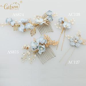 Peine del pelo de la boda de la flor hecha a mano azul Peine nupcial del pelo Pin Bobby Pin Party Decoration Hair Accessories Set