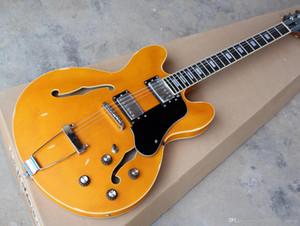 최고 품질 GYES335-0007 Antiqua Do Old yellow 맞춤형 F 중공 로즈 우드 fretboard 재즈 일렉트릭 기타, 무료 배송