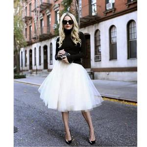 17color 6 layers Puff Women Chiffon Tulle Skirt White faldas High waist Midi Knee Length Chiffon plus size Grunge Jupe Female Tutu Skirts