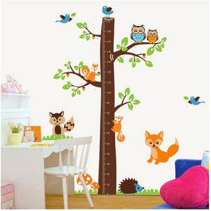 Árbol de ardilla medida de altura de dibujos animados etiqueta de la pared 221AB para habitaciones de los niños Altura de la etiqueta calcomanía Kindergarten decoración de la habitación de los niños