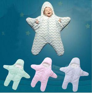 Bonito Starfish Projeto Baby Sleeping Bag macia e quente cobertor de gavetas Nightdress recém-nascidos inverno listrado Babies SleepSack