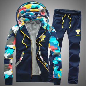 Moda Jolintsai Kamuflaj Baskı Spor Takım Elbise Polar Casaul Eşofman Set Erkekler 2017 Artı Boyutu 4XL Hoodies Kazak + Pantolon 2 Parça Set