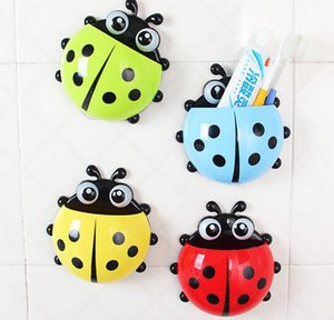 2018 Lovely Ladybug Portaspazzolino Bagno Aspirapolvere da parete Set Ganci porta spazzolino dentifricio Sucker Cartoon