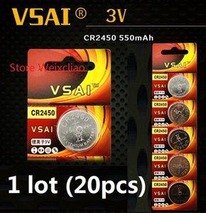 20 unids 1 lote CR2450 3 V batería de ion de litio ion batería CR 2450 3 Voltios baterías de moneda de li-ion VSAI envío gratis