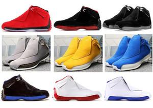 Yüksek Kaliteli 18 Toro Kırmızı Süet Gri Mavi Sarı Turuncu Süet Erkek Basketbol Ayakkabı 18s Bred OG ASG Siyah Beyaz Sneakers ile Kutusu