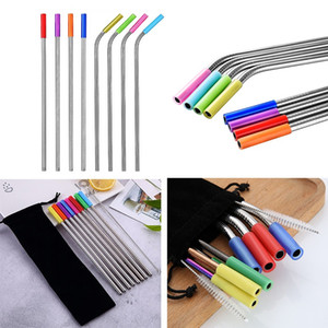 Bar Accessories Teeth Shockproof Straw Silicone Sleeve Stainless Steel Straw reusable 6mm Straw Sleeve Protector Accessories