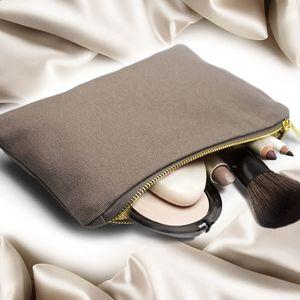빈 캔버스 화장품 가방 파우치 케이스 파우치 지퍼 휴대용 화장품 가방 큰 저장 금속